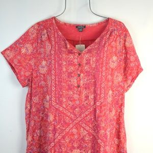 Lucky Brand Red Floral Print Boho Top 2X